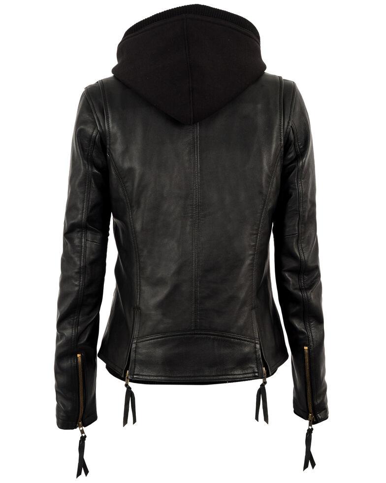 STS Ranchwear Women's Wanderlust Leather Hoodie Jacket - Plus, Black, hi-res