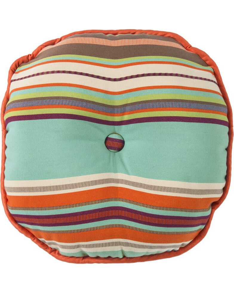 HiEnd Accents Turquoise Serape Round Pillow , Turquoise, hi-res