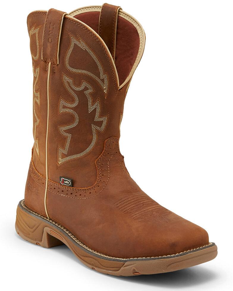 Justin Men's Stampede Rush Waterproof Western Work Boots - Steel Toe, Tan, hi-res