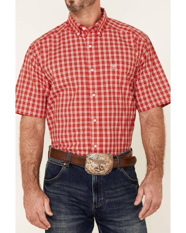 Ariat Men's Bowen Small Plaid Short Sleeve Button-Down Western Shirt - Tall , Red, hi-res