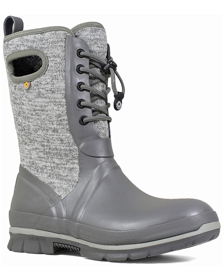 Bogs Women's Grey Crandal Lace-Up Winter Boots - Round Toe, Grey, hi-res