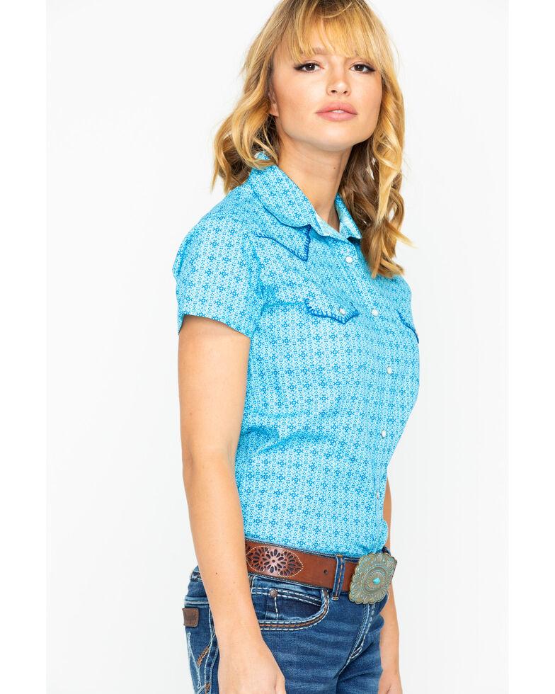 Panhandle Women's Nordini Antique Short Sleeve Western Shirt, Light Blue, hi-res