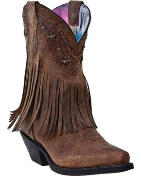 Dingo Hang Low Fringe Cowgirl Boots - Snip Toe, Brown, hi-res