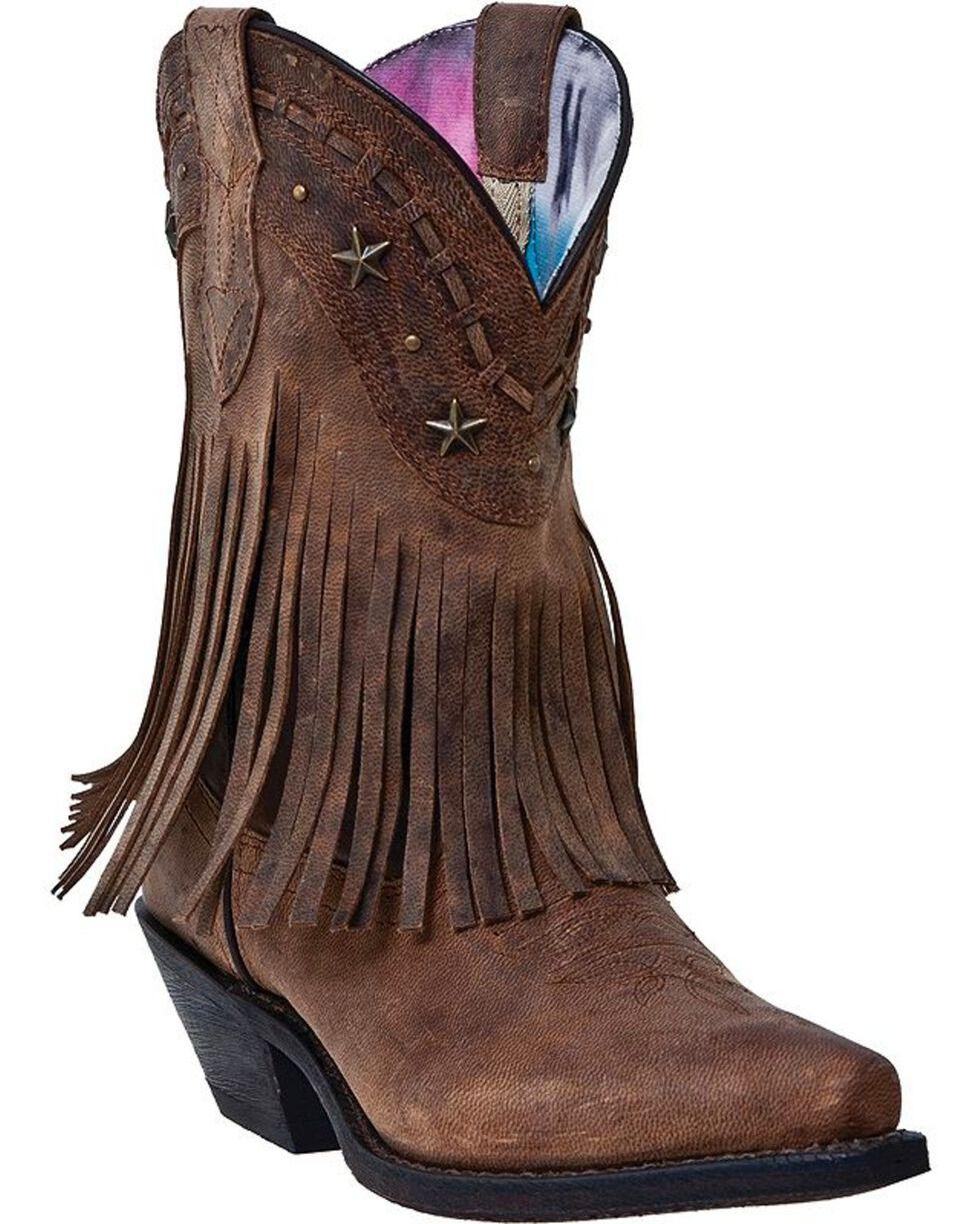 Dingo Hang Low Fringe Cowgirl Boots - Snip Toe, Brown, hi-res