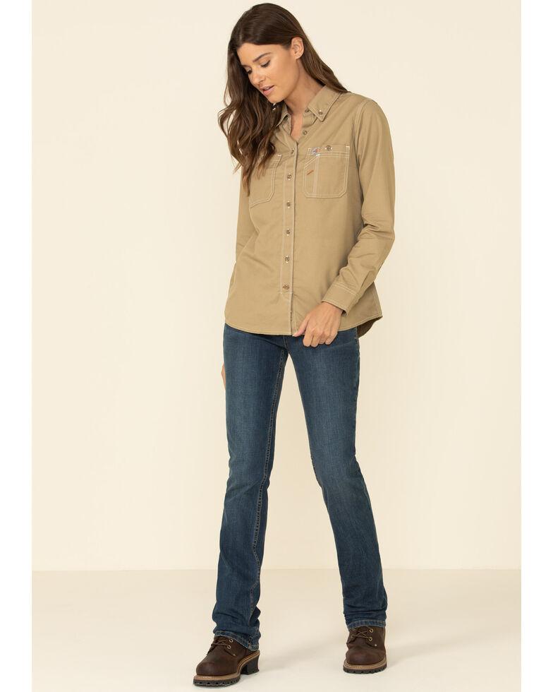 Carhartt Women's FR Force Lightweight Button Front Long Sleeve Shirt , Beige/khaki, hi-res