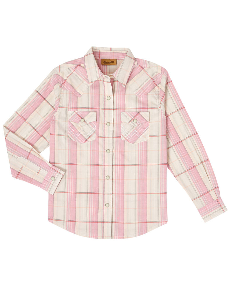Wrangler Girls' Plaid Blush Snap Long Sleeve Western Shirt , Blush, hi-res