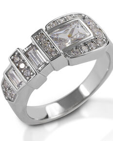 Kelly Herd Women's Clear Ranger Style Buckle Ring, Silver, hi-res