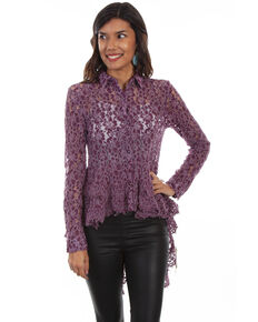 Honey Creek by Scully Women's Hi/Lo Lace Button Front Blouse , Purple, hi-res