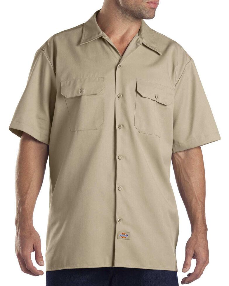 Dickies Short Sleeve Twill Work Shirt - Big & Tall-Folded, Khaki, hi-res