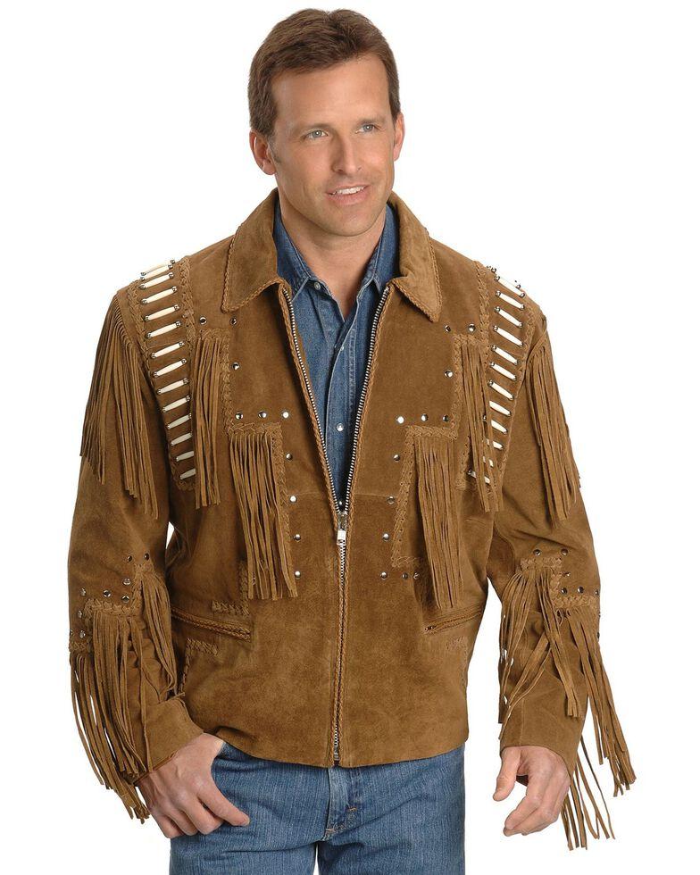 Liberty Wear Bone Fringed Leather Jacket, Tobacco, hi-res