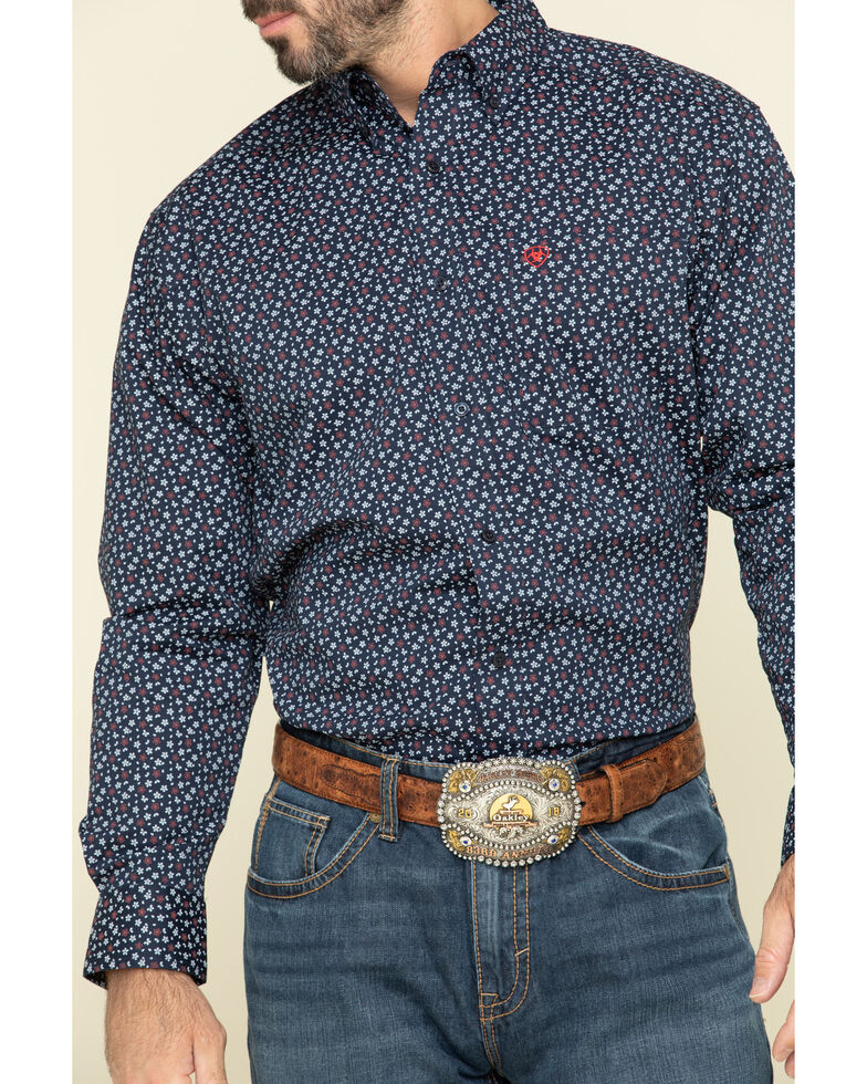 Ariat Men's Sunnyvale Floral Print Long Sleeve Western Shirt - Tall , Black, hi-res