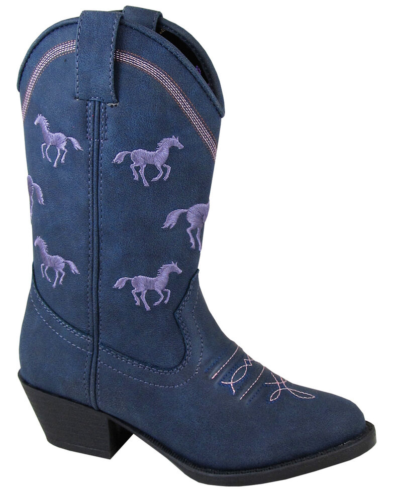 Smoky Mountain Youth Girls' Rustler Western Boots - Round Toe, Navy, hi-res