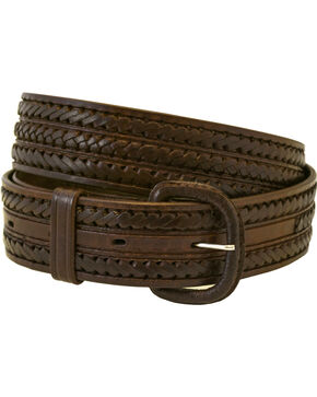 Western Express Men's Braided Leather Belt , Brown, hi-res