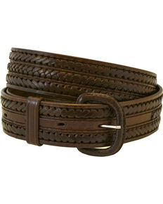 Western Express Men's Braided Leather Belt , Brown, hi-res