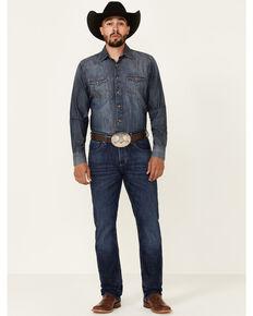 Wrangler 20X Men's Steel Dark Wash Stretch Slim Straight Jeans - Tall , Blue, hi-res