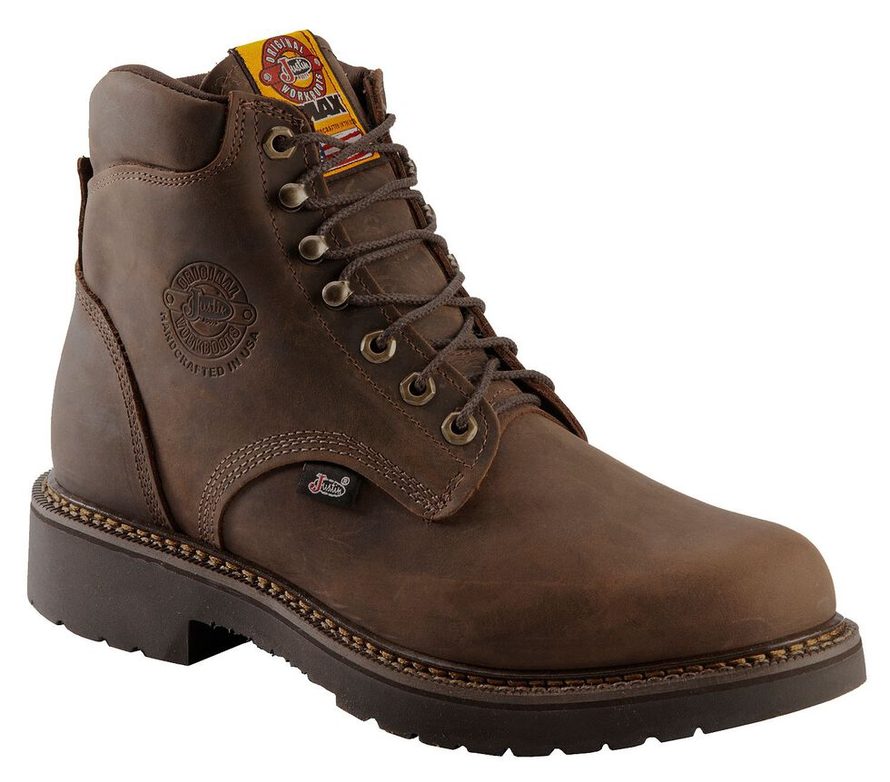 """Justin Men's J-Max 6"""" Balusters Rugged Bay EH Lace-Up Work Boots - Soft Toe, Brown, hi-res"""
