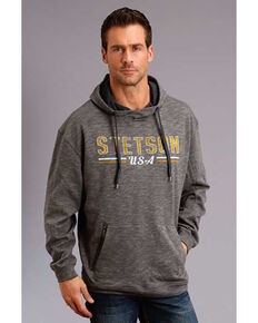 Stetson Men's Grey USA Slub French Terry Hooded Sweatshirt , Grey, hi-res