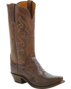 Lucchese Women's Handmade Yvette Ostrich Leg Western Boots - Snip Toe, Chocolate, hi-res