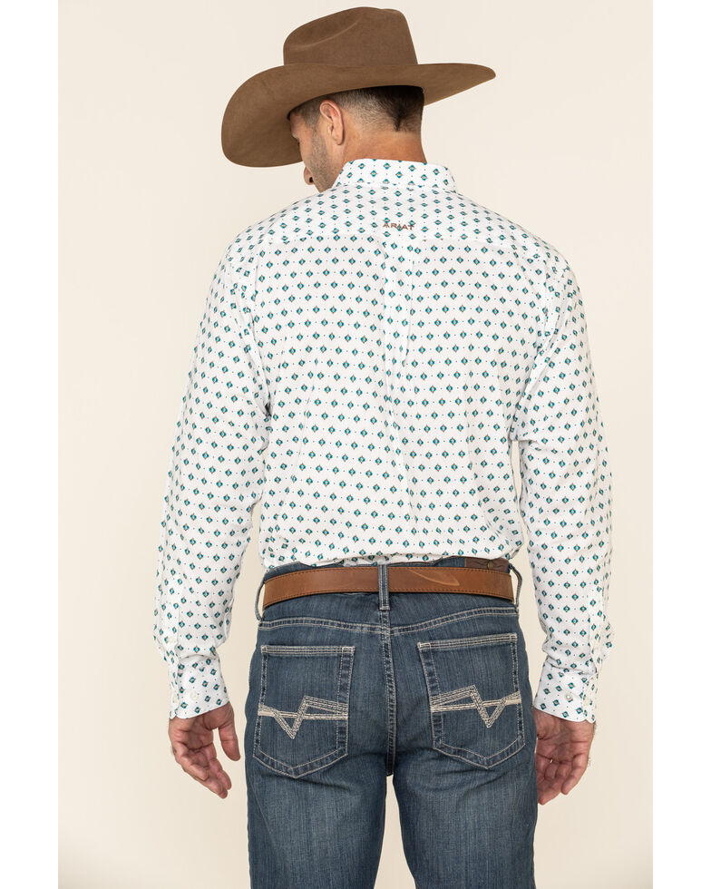 Ariat Women's Ollie Aztec Geo Print Fitted Long Sleeve Western Shirt , White, hi-res