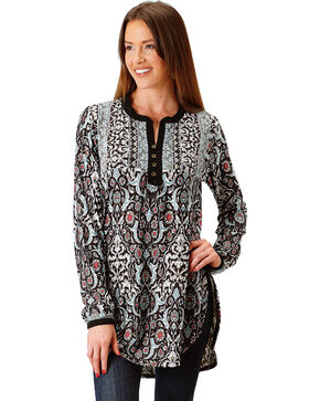 Roper Women's Floral Vine Border Print Tunic, Black, hi-res