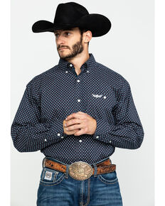 Ariat Men's Elevate Geo Print Long Sleeve Western Shirt , Navy, hi-res