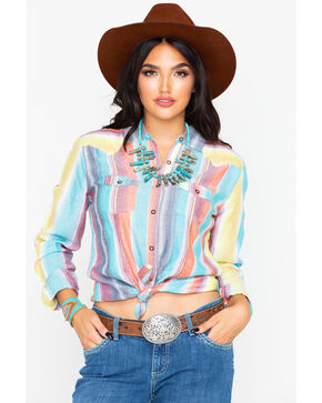 Panhandle Women's Serape Button Up Long Sleeve Shirt, Multi, hi-res