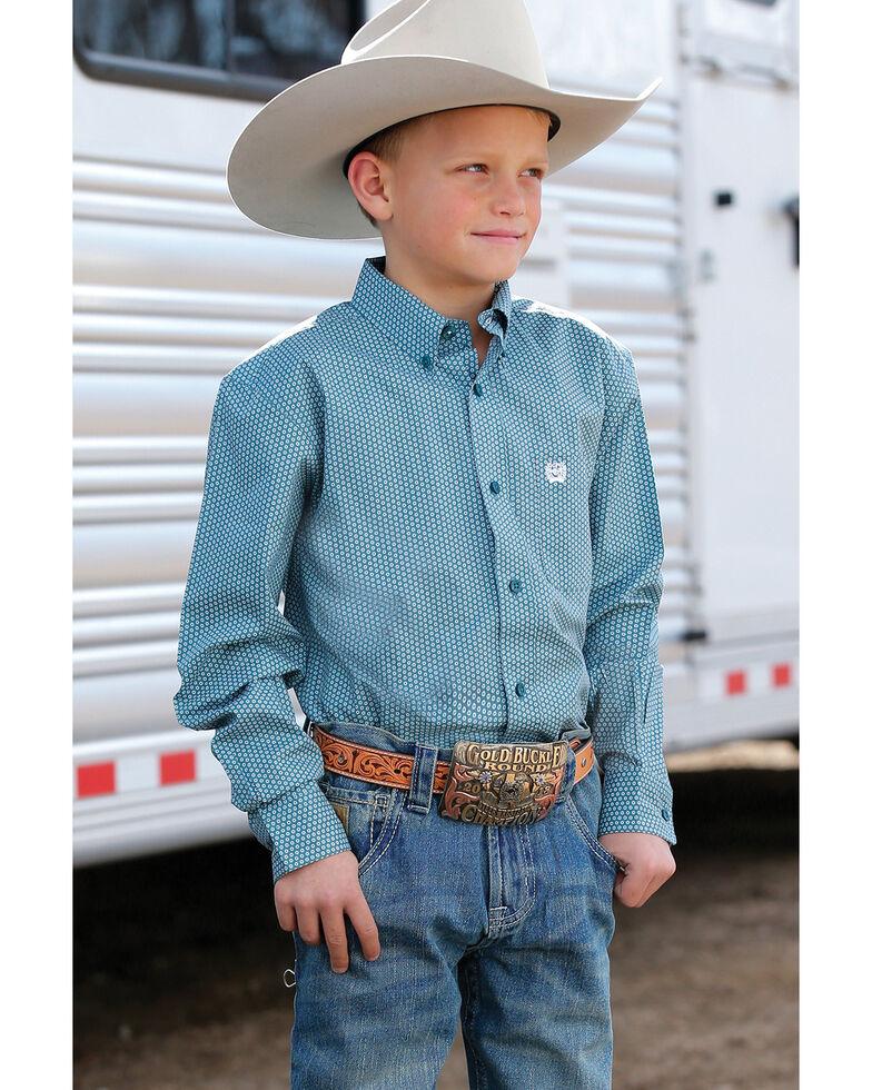 Cinch Boys' Teal Geo Print Long Sleeve Western Shirt , Teal, hi-res