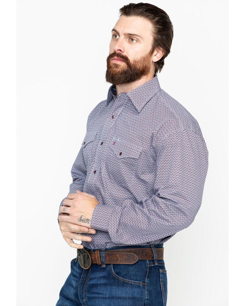 Stetson Men's Wine Geo Print Long Sleeve Western Shirt , Wine, hi-res