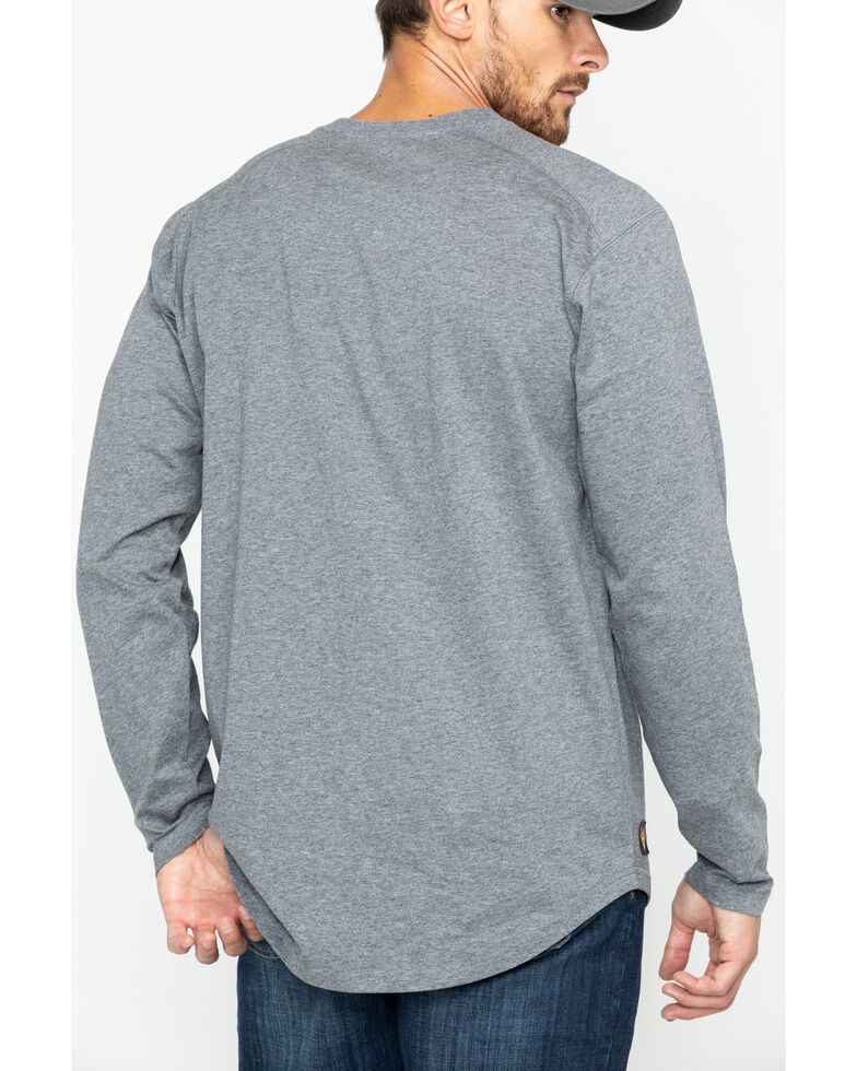 Hawx Men's Heather Grey Logo Crew Long Sleeve Work T-Shirt - Big , Heather Grey, hi-res