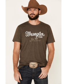 Wrangler Men's Brown Cursive Logo Graphic T-Shirt , Brown, hi-res