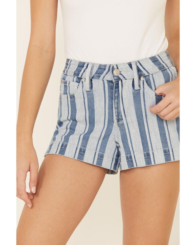 Shyanne Women's Blue Stripe Shorts, Light Blue, hi-res