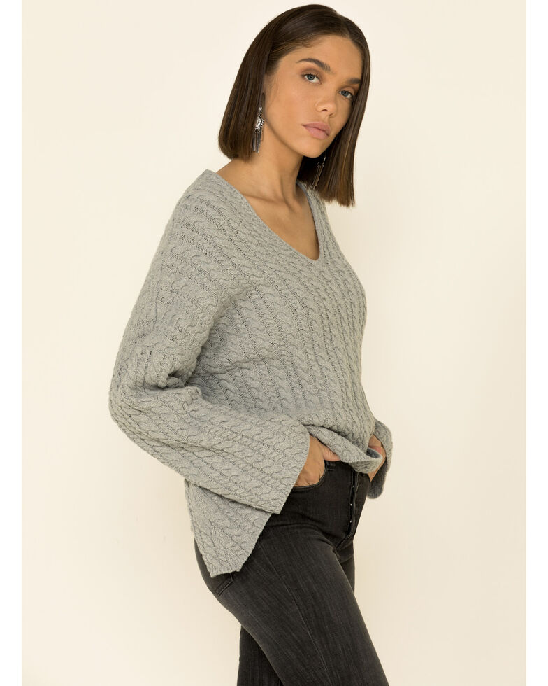 POL Women's Cable Front Lace Back Sweater , Grey, hi-res
