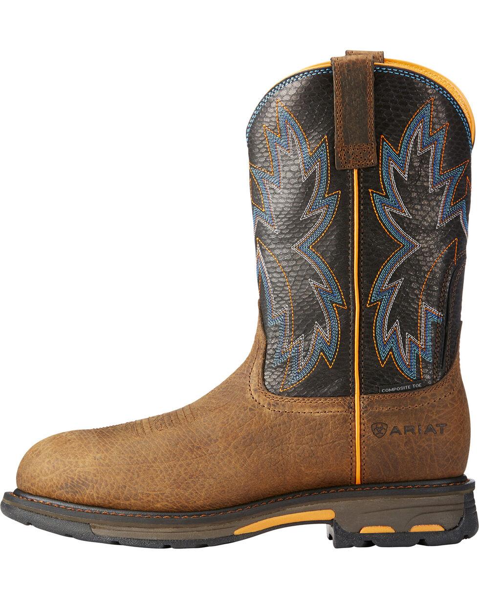 Ariat Men's Brown WorkHog Raptor Snake Print Boots - Composite Toe , Brown, hi-res