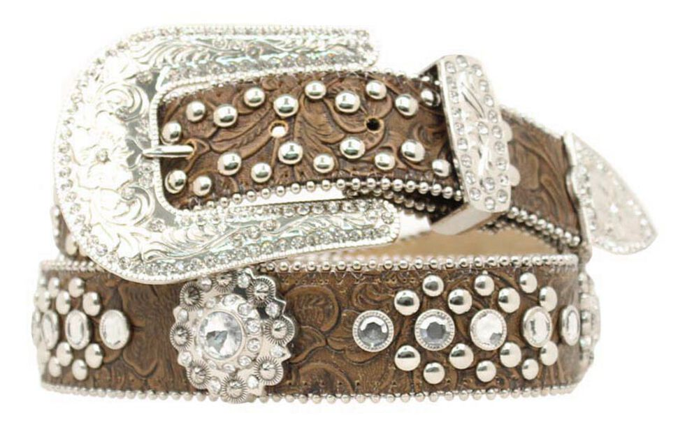 Blazin Roxx Concho Studded Floral Embossed Western Belt, Brown, hi-res