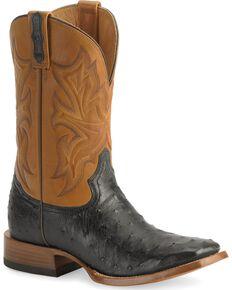 Stetson Ostrich Cowboy Boots - Wide Square Toe, Black, hi-res