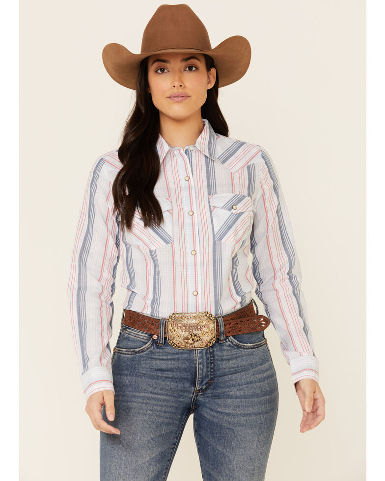 Wrangler Women's Americana Light Blue Plaid Long Sleeve Snap Western Core Shirt , Light Blue, hi-res