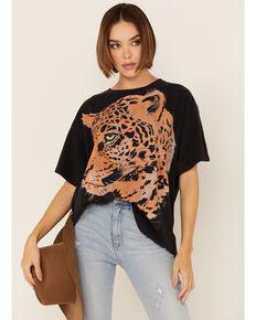 Wrangler Women's Oversized Leopard Graphic Short Sleeve Tee , Black, hi-res