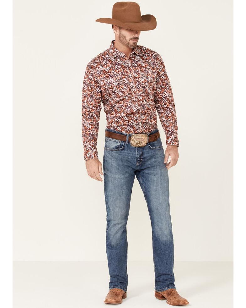 Wrangler 20X Men's Burgundy Floral Print Long Sleeve Snap Western Shirt , Burgundy, hi-res