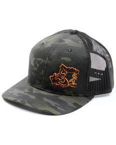 Oil Field Hats Men's Camo Orange Puff Outline Embroidered Mesh-Back Ball Cap , Black, hi-res