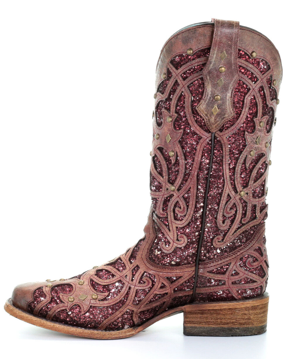 Corral Women's Burgundy Inlay & Flower Embroidery Western Boots - Square Toe, Burgundy, hi-res