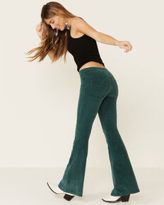 Free People Women's Pull-On Corduroy Flare Jeans, Green, hi-res