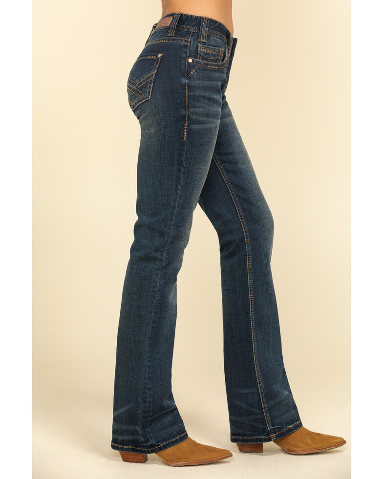 Rock & Roll Cowgirl Women's Dark Embroidered Bootcut Jeans , Blue, hi-res
