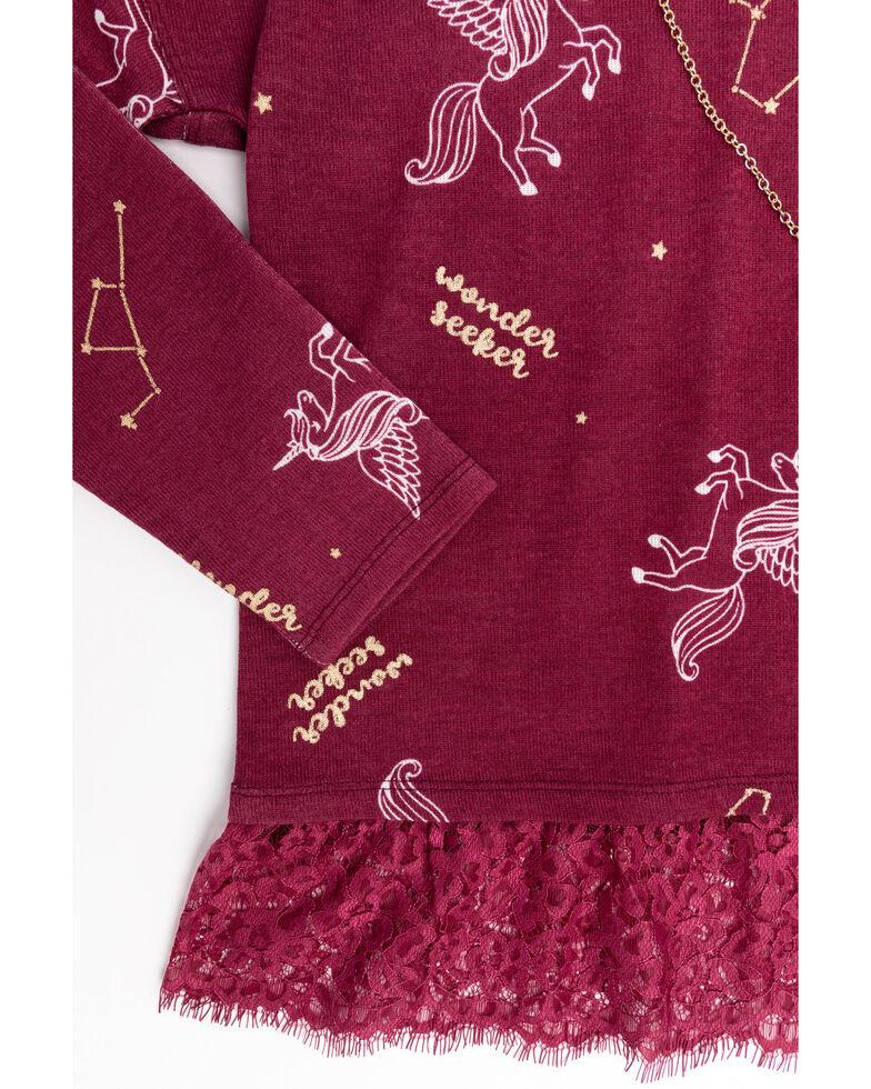 Shyanne Girls' Floral Long Sleeve Hoodie Top & Necklace Set, Burgundy, hi-res