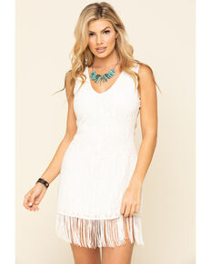 Idyllwind Women's Sing Loud Fringe Cut-Out Dress, Cream, hi-res