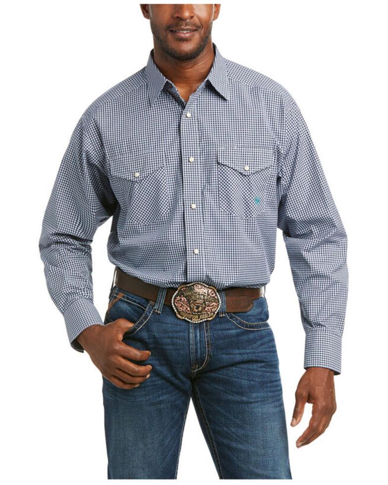 Ariat Men's Porter Small Plaid Long Sleeve Button-Down Western Shirt , Black, hi-res