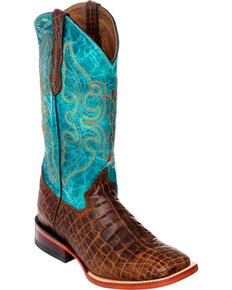 Ferrini Women's Belly Print Cowgirl Boots - Square Toe, Brown, hi-res