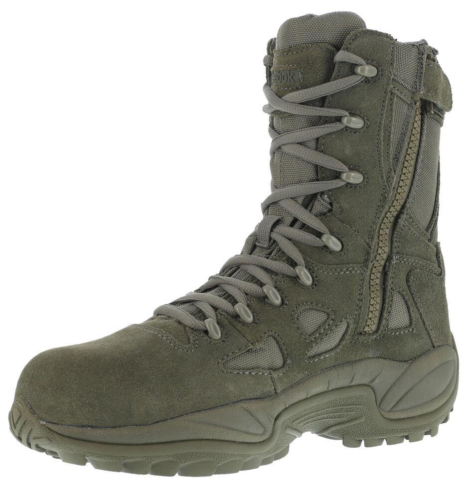"Reebok Women's Stealth 8"" Lace-Up Black Side-Zip Work Boots - Composite Toe, Sage, hi-res"