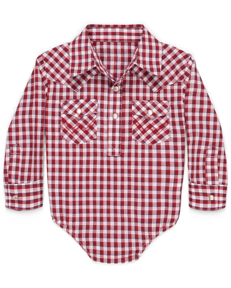 Wrangler Infant Boys' Red Woven Plaid Long Sleeve Onesie , Red, hi-res
