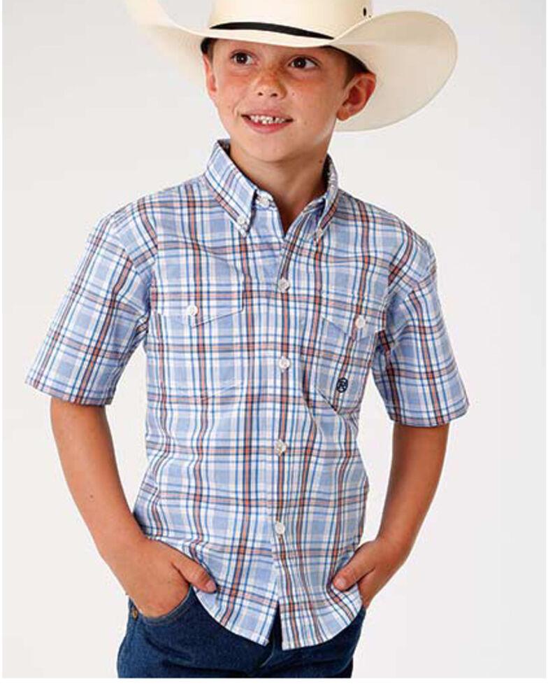 Roper Boys' Amarillo Miles Plaid Short Sleeve Western Shirt , Blue, hi-res