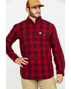 Carhartt Men's Red Fort Plaid Button Long Sleeve Work Shirt , Dark Red, hi-res